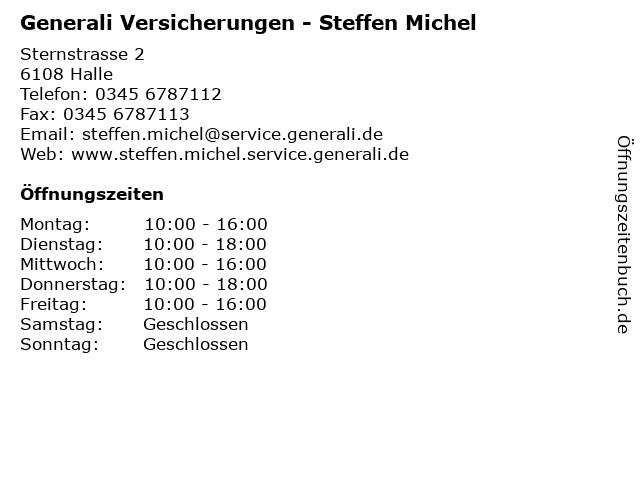 Generali Versicherungen - Steffen Michel in Halle: Adresse und Öffnungszeiten