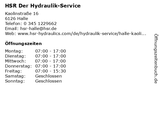 HSR Der Hydraulik-Service in Halle: Adresse und Öffnungszeiten