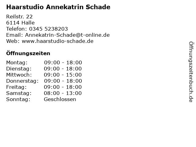 Haarstudio Annekatrin Schade in Halle: Adresse und Öffnungszeiten