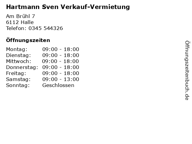 Hartmann Sven Verkauf-Vermietung in Halle: Adresse und Öffnungszeiten