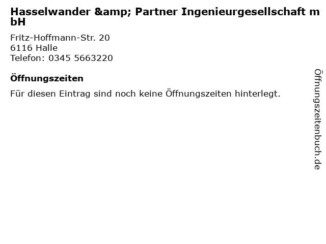 Hasselwander & Partner Ingenieurgesellschaft mbH in Halle: Adresse und Öffnungszeiten