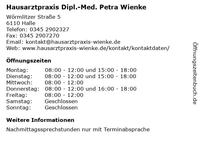 Dipl.-Med. Petra Sischka , Allgemeinmedizin in Halle: Adresse und Öffnungszeiten