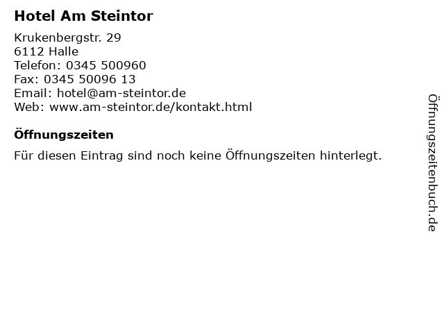 Hotel Am Steintor in Halle: Adresse und Öffnungszeiten