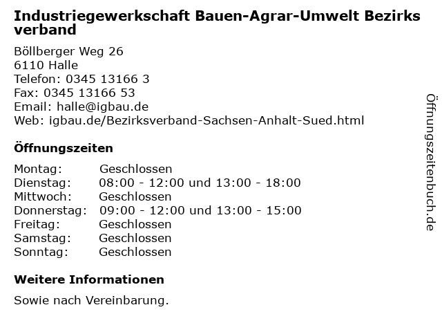 Industriegewerkschaft Bauen-Agrar-Umwelt Bezirksverband in Halle: Adresse und Öffnungszeiten
