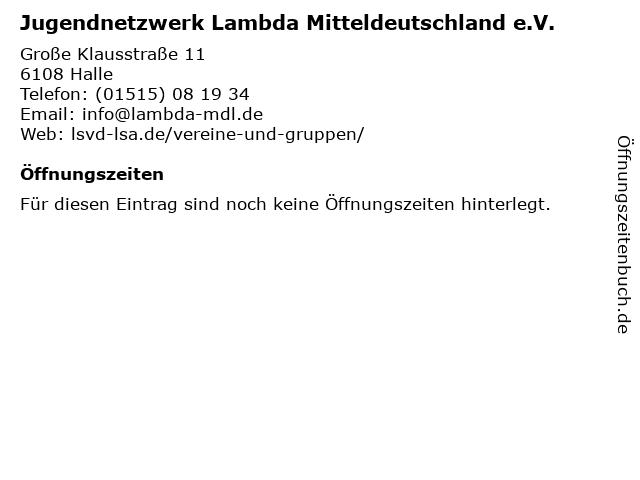 Jugendnetzwerk Lambda Mitteldeutschland e.V. in Halle: Adresse und Öffnungszeiten