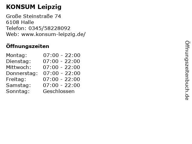 KONSUM Leipzig in Halle: Adresse und Öffnungszeiten