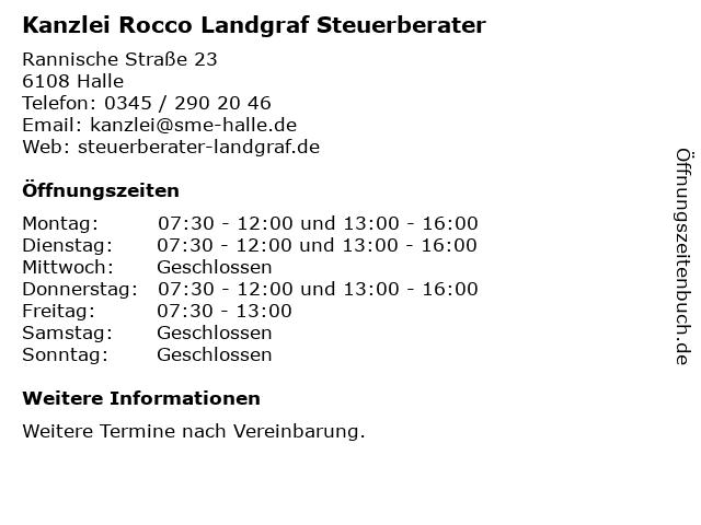Kanzlei Rocco Landgraf Steuerberater in Halle: Adresse und Öffnungszeiten