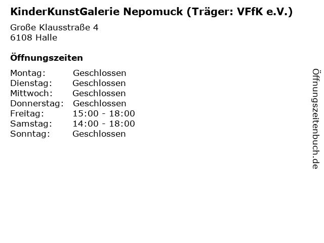 KinderKunstGalerie Nepomuck (Träger: VFfK e.V.) in Halle: Adresse und Öffnungszeiten