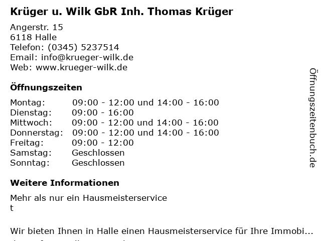 Krüger u. Wilk GbR Inh. Thomas Krüger in Halle: Adresse und Öffnungszeiten