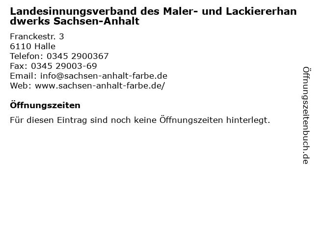 Landesinnungsverband des Maler- und Lackiererhandwerks Sachsen-Anhalt in Halle: Adresse und Öffnungszeiten
