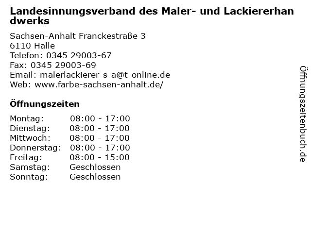 Landesinnungsverband des Maler- und Lackiererhandwerks in Halle: Adresse und Öffnungszeiten