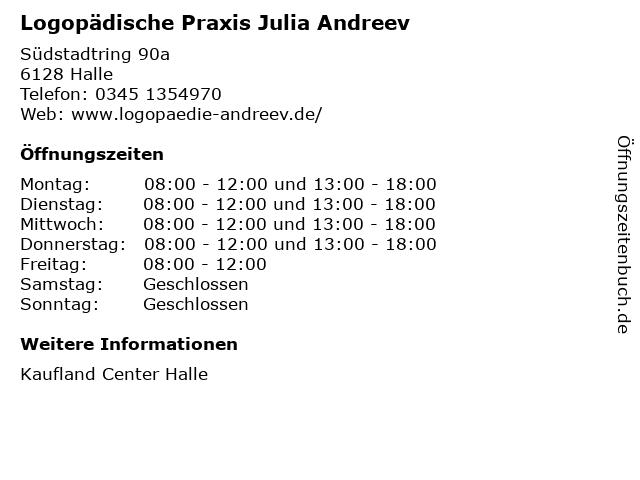 Logopädische Praxis Julia Andreev in Halle: Adresse und Öffnungszeiten