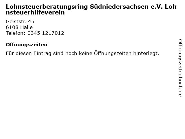 Lohnsteuerberatungsring Südniedersachsen e.V. Lohnsteuerhilfeverein in Halle: Adresse und Öffnungszeiten