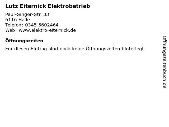 Lutz Eiternick Elektrobetrieb in Halle: Adresse und Öffnungszeiten