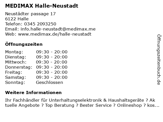 MEDIMAX Electronic Objekt Halle GmbH in Halle (Saale): Adresse und Öffnungszeiten