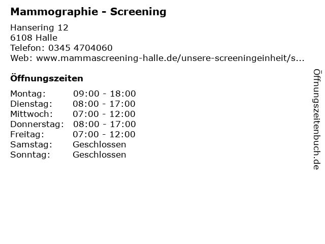 Mammographie - Screening Sachsen-Anhalt Sued in Halle: Adresse und Öffnungszeiten