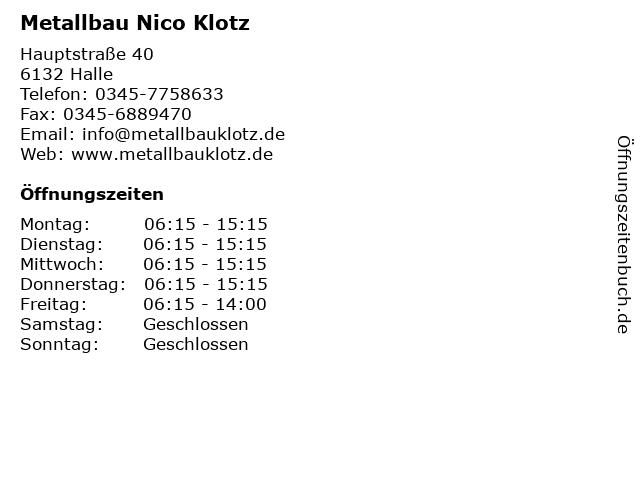 Metallbau Nico Klotz in Halle: Adresse und Öffnungszeiten