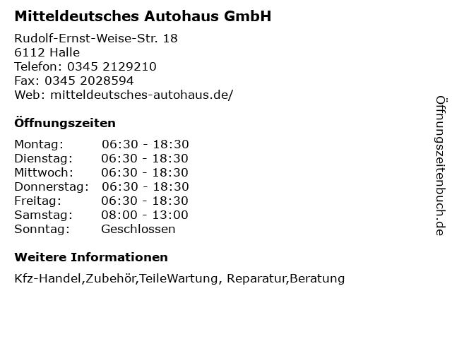 Mitteldeutsches Autohaus GmbH in Halle: Adresse und Öffnungszeiten