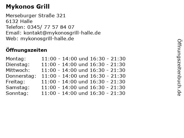 Mykonos Grill in Halle: Adresse und Öffnungszeiten