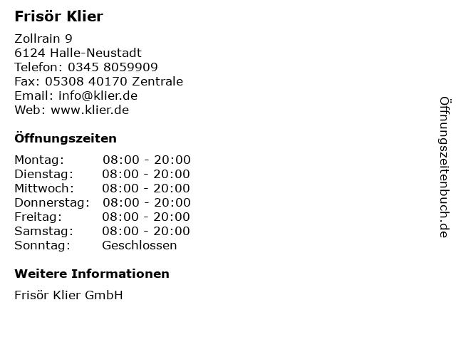 Frisör Klier in Halle-Neustadt: Adresse und Öffnungszeiten