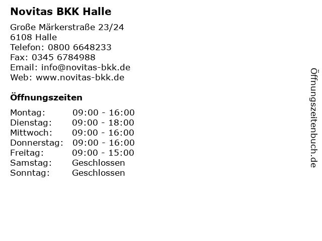 Novitas BKK Halle in Halle: Adresse und Öffnungszeiten