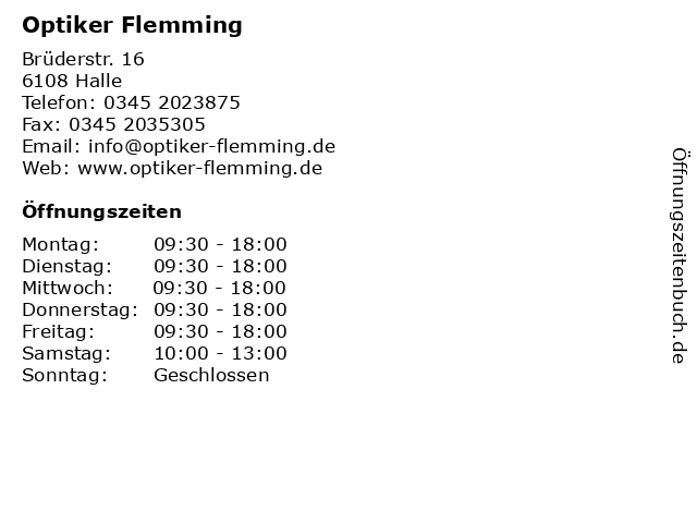 Optiker Flemming in Halle: Adresse und Öffnungszeiten