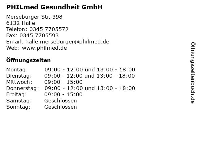 PHILmed Gesundheit GmbH in Halle: Adresse und Öffnungszeiten