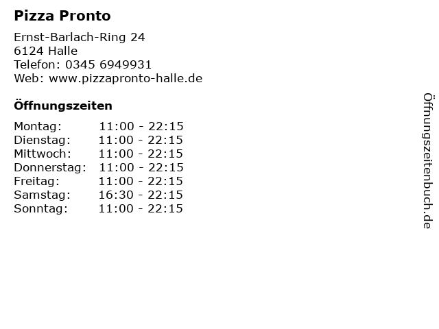 Pizza Pronto in Halle: Adresse und Öffnungszeiten