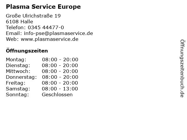 Plasma Service Europe in Halle: Adresse und Öffnungszeiten