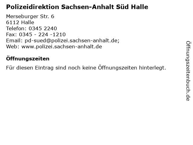 Polizeidirektion Sachsen-Anhalt Süd Halle in Halle: Adresse und Öffnungszeiten