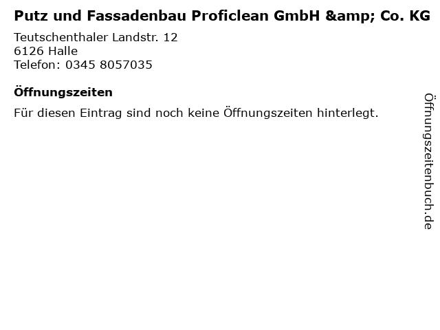 Putz und Fassadenbau Proficlean GmbH & Co. KG in Halle: Adresse und Öffnungszeiten