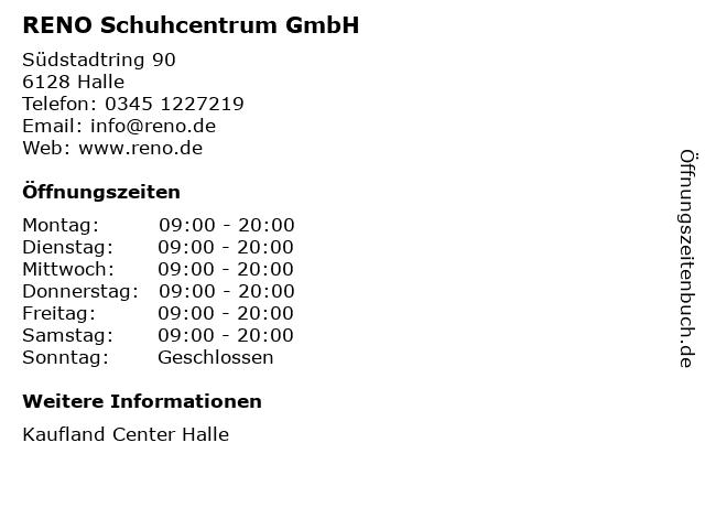 RENO Schuhcentrum GmbH in Halle: Adresse und Öffnungszeiten