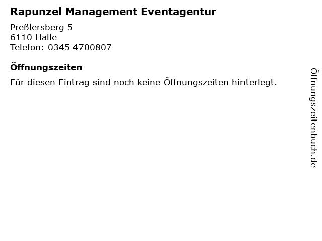 Rapunzel Management Eventagentur in Halle: Adresse und Öffnungszeiten