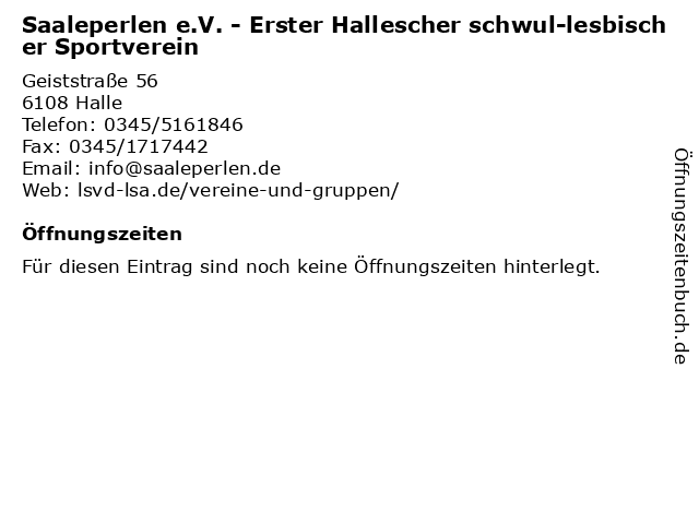 Saaleperlen e.V. - Erster Hallescher schwul-lesbischer Sportverein in Halle: Adresse und Öffnungszeiten