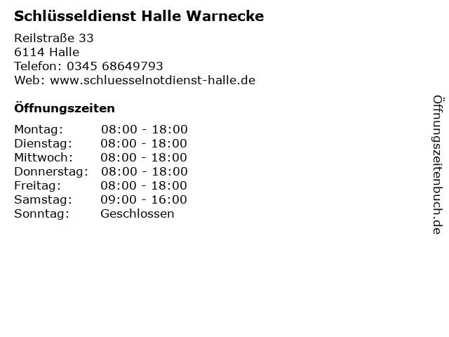 Schlüsseldienst Halle Warnecke in Halle: Adresse und Öffnungszeiten