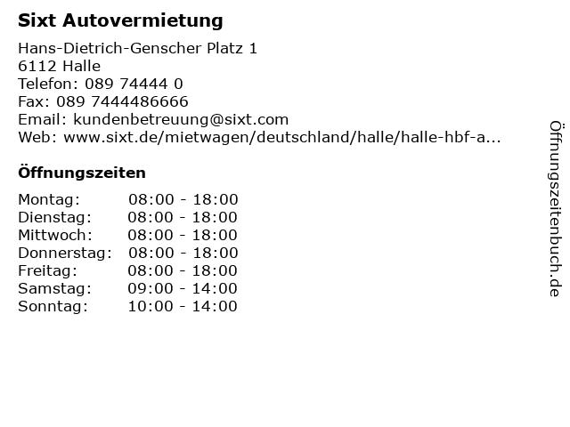 Sixt Autovermietung in Halle: Adresse und Öffnungszeiten