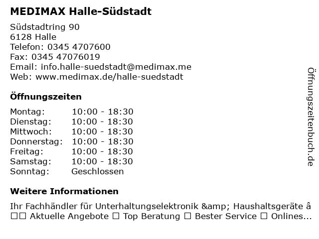 MEDIMAX Electronic Objekt Halle-Südstadt GmbH in Halle-Südstadt: Adresse und Öffnungszeiten