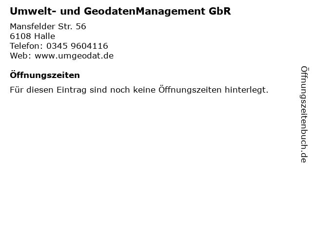 Umwelt- und GeodatenManagement GbR in Halle: Adresse und Öffnungszeiten