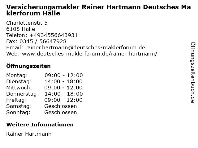 Versicherungsmakler Rainer Hartmann Deutsches Maklerforum Halle in Halle: Adresse und Öffnungszeiten