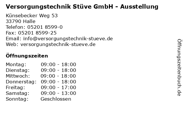 Versorgungstechnik Stüve GmbH - Ausstellung in Halle: Adresse und Öffnungszeiten