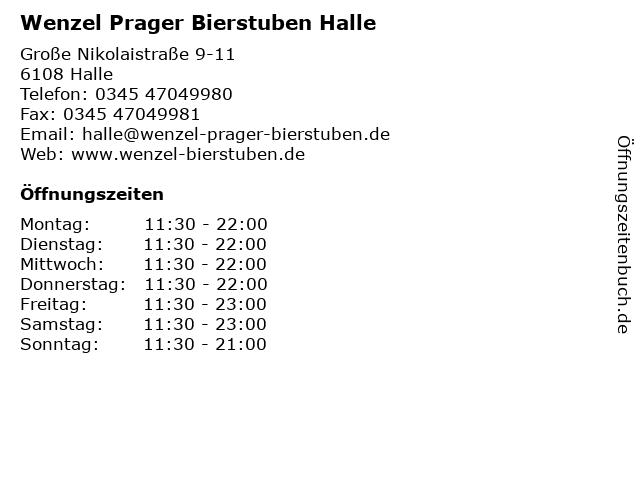 Wenzel Prager Bierstuben Halle in Halle: Adresse und Öffnungszeiten