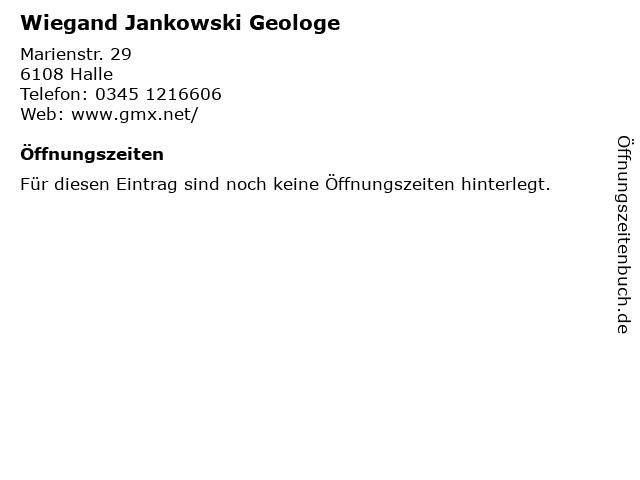 Wiegand Jankowski Geologe in Halle: Adresse und Öffnungszeiten
