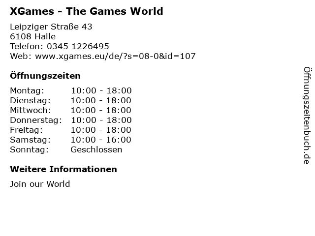 XGames - The Games World in Halle: Adresse und Öffnungszeiten
