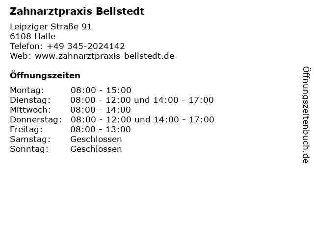 Zahnarztpraxis Bellstedt in Halle: Adresse und Öffnungszeiten