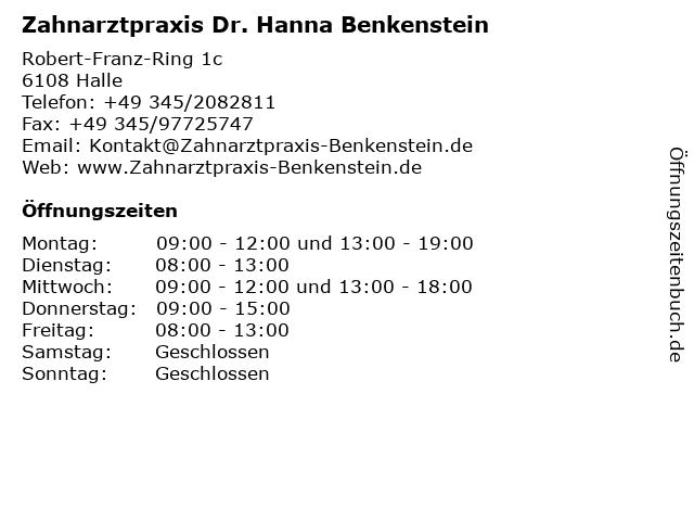 Zahnarztpraxis Dr. Hanna Benkenstein in Halle: Adresse und Öffnungszeiten