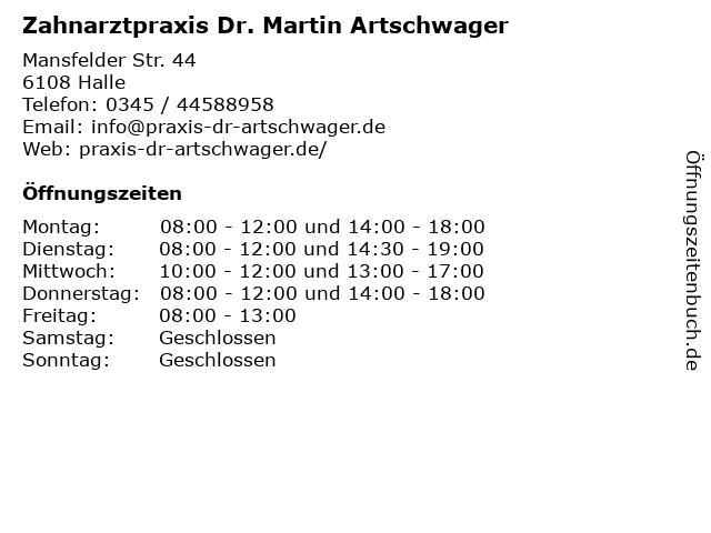 Zahnarztpraxis Dr. Martin Artschwager in Halle: Adresse und Öffnungszeiten