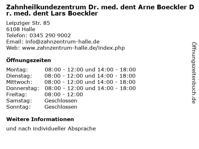 Zahnheilkundezentrum Dr. med. dent Arne Boeckler Dr. med. dent Lars Boeckler in Halle: Adresse und Öffnungszeiten
