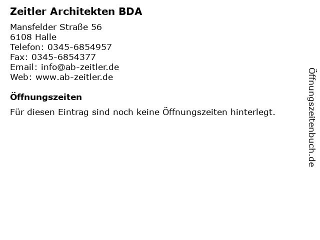Zeitler Architekten BDA in Halle: Adresse und Öffnungszeiten