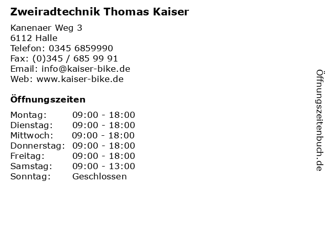 Zweiradtechnik Thomas Kaiser in Halle: Adresse und Öffnungszeiten