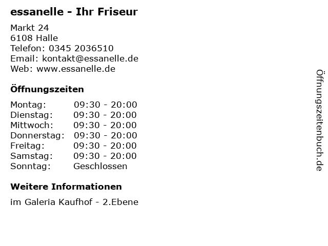 essanelle - Ihr Friseur in Halle: Adresse und Öffnungszeiten